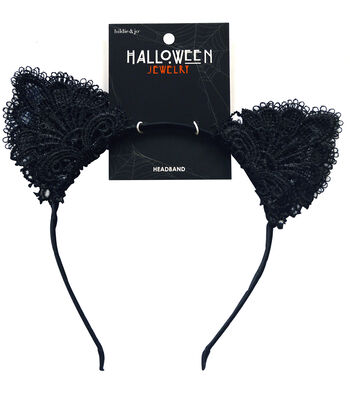 hildie & jo™ Halloween Headband with Lace Cat Ears-Black