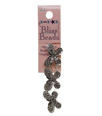 Bliss Beads Silver Plated Rhinestone Butterfly Slider