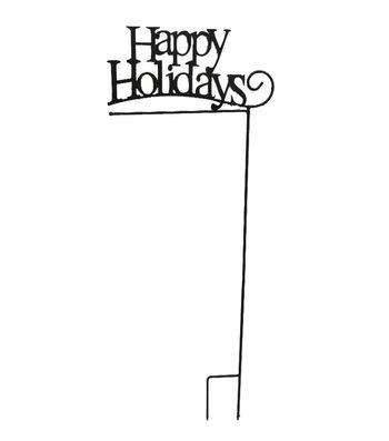 Maker's Holiday Christmas Metal Flag Holder-Happy Holidays