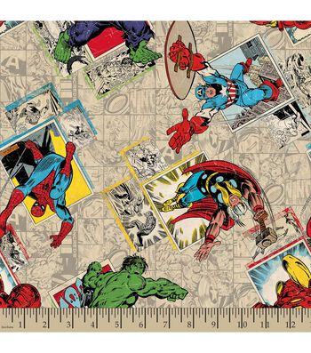 Marvel's The Avengers Print Fabric-Retro Badge Print
