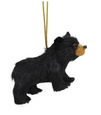 Maker's Holiday Christmas Fur Baby Bear Ornament-Black