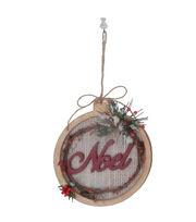 Maker's Holiday Woodland Lodge Burlap Stitched Ornament-Noel, , hi-res
