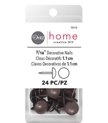 "Dritz Home 0.44"" Decorative Nails Smooth Head 24pcs Brown"