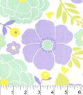 Nursery Cotton Fabric-Lauren Purple Large Floral
