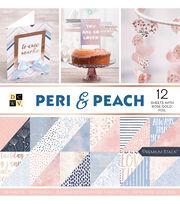 DCWV 36 Pack 12''x12'' Premium Stack Printed Cardstock-Peri & Peach, , hi-res