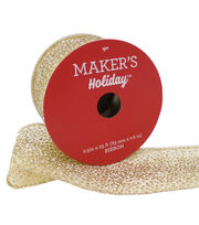 Maker's Holiday Christmas Ribbon 2.5''x25'-Gold Sparkle on Beige, , hi-res