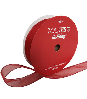"""Maker's Holiday Christmas Glitter Value Ribbon 1.5""""x125'-Red"""