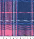 Blizzard Fleece Fabric-Aspen Pink Navy Plaid