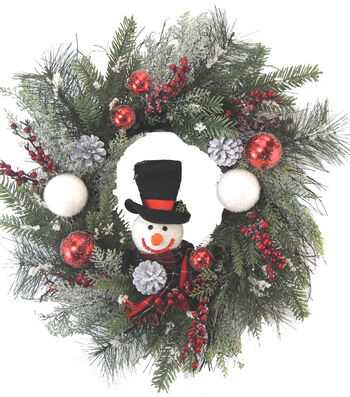 Blooming Holiday 24'' Grapevine & Snowman Wreath-Red, White & Green