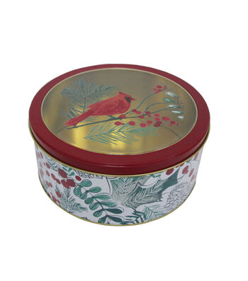 Maker's Holiday Christmas Large Round Clear Top Cookie Tin-Cardinal