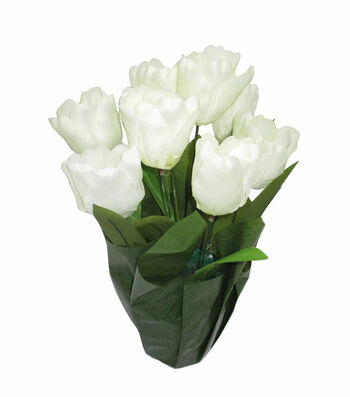 Blooming Spring 16'' Potted Tulip-Cream