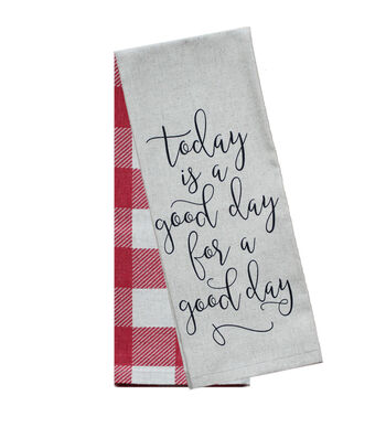 Hudson 43 Farm 2 Pack 16''x28'' Towels-Good Day Sentiment & Red Checks