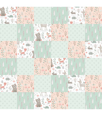 """Nursery Flannel Fabric 44""""-Patch Quilt Woodland"""
