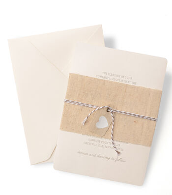 Save The Date™ Invite Set with Fabric Band & Heart