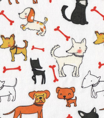 "Snuggle Flannel Fabric 42""-Dog Friends"