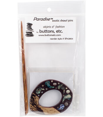Inlaid Shell Shawl Pin-Shell/Wood