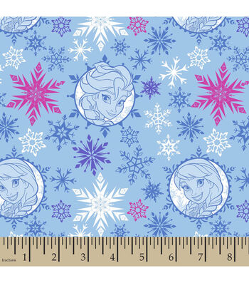 Frozen Sisters Badges Toss Cotton Fabric