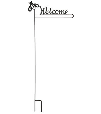 Porch Décor Bee Iron Flag Stake-Welcome