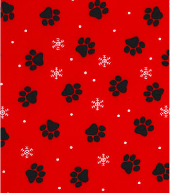 Christmas Cotton Fabric 43''-Pawprints on Red