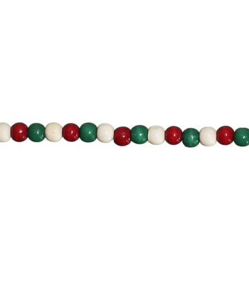 Maker's Holiday Christmas 8' Wood Bead Garland-Red, Green & White