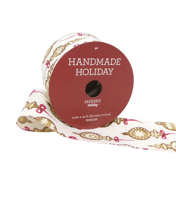 Maker's Holiday Handmade Holiday Ribbon 2.5''x25'-Cookie Ornament