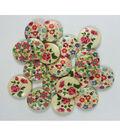 Organic Elements Wood Buttons 3/4\u0022-Flower Print