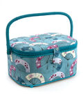Large Oval Sewing Basket-Turquoise Fans