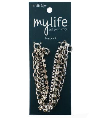 hildie & jo My Life 7'' Silver Multi Chain Bracelet