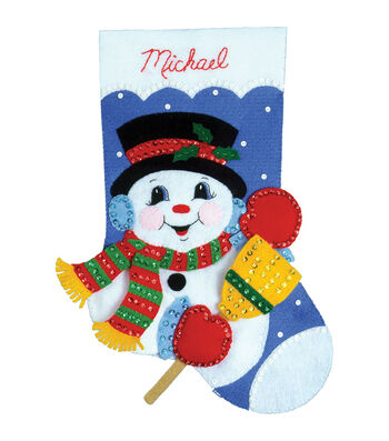 Design Works Snowman With Broom Stocking Felt Applique Kit