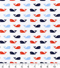 Nursery Cotton Fabric 43\u0022-Nautical Whales