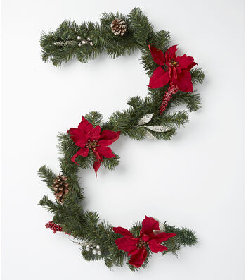Blooming Holiday Poinsettia, Pinecone, Pine & Berry Garland-Red & Green