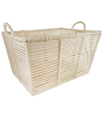 Large Laundry Storage Macrame Bin-White