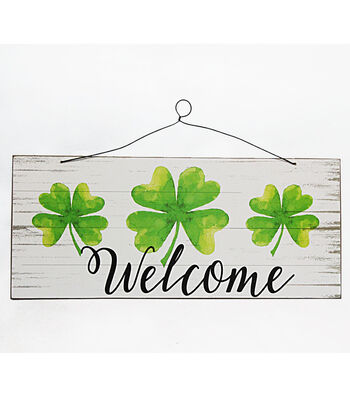 St. Patrick's Day Wood Wall Decor-Welcome & Shamrock on White