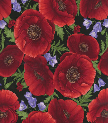 "Hi Fashion Premium Quilt Fabric 44""-Large Poppies"