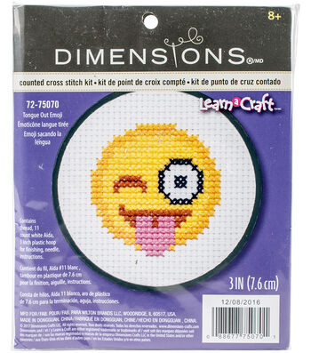 """Learn-A-Craft Tongue Out Emoji Mini Counted Cross Stitch Kit-3"""""""