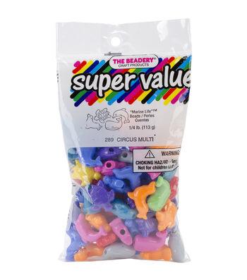 Marine Assorted Circus Plastic Beads .25lb/Pkg-Multicolor