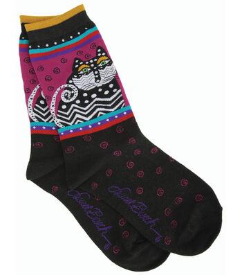 Laurel Burch Socks-Polka Dot Cats-Black