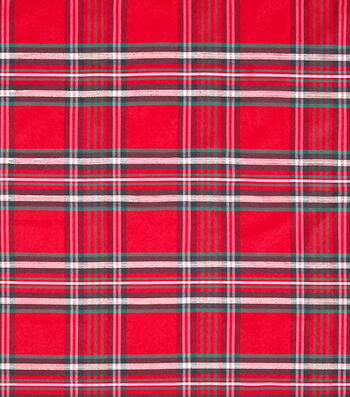 "Sew Sweet Plaid Polyester Fabric 58""-Red & Green"