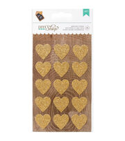 American Crafts DIY Shop 2 Gold Hearts Glitter Stickers, , hi-res
