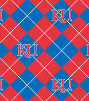 "University of Kansas Jayhawks Fleece Fabric 58""-Argyle, , hi-res"