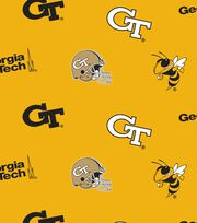 "Georgia Tech Yellow Jackets Fleece Fabric 58""-All Over, , hi-res"
