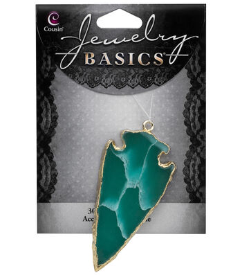Cousin® Jewelry Basics Gold Trim Arrowhead Slice Accent-Dark Green