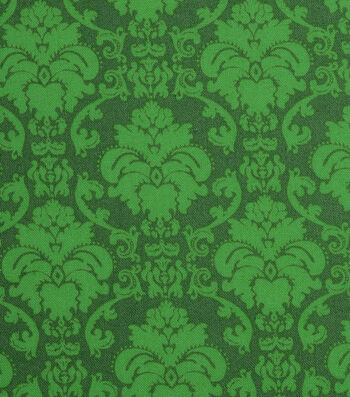 "Holiday Showcase™ Harvest Cotton Fabric 43""-Green Damask"