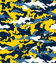 "University of Michigan Wolverines Fleece Fabric 60""-Camo, , hi-res"
