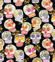 "Alexander Henry Cotton Fabric 44""-Calaveras Black/Glitter, , hi-res"