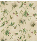 Lewiston Beige Pinecone And Berry Trail Wallpaper
