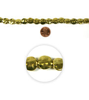 Blue Moon Strung Metal Beads,Flat Round,Gold,Hammered, , hi-res