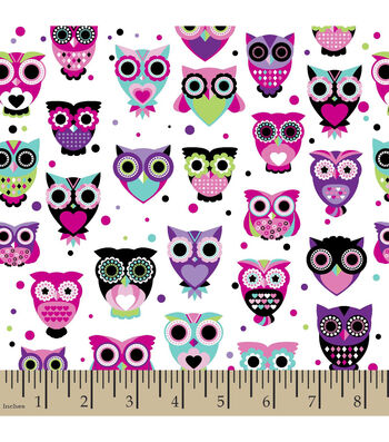 "Snuggle Flannel Fabric 42""-Owls Bright White"