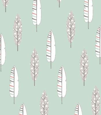 Nursery Flannel Fabric 42''-Feathers on Mint