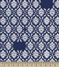 Navy Damask Print Fabric